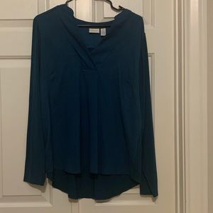 Chicos teal long sleeve knit+tee blouse